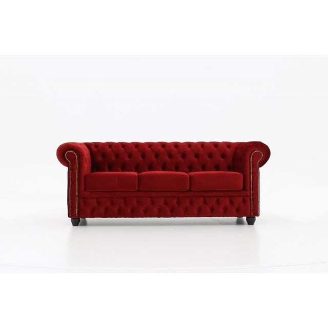CHESTERFIELD Canapé 3 places Velours Rouge
