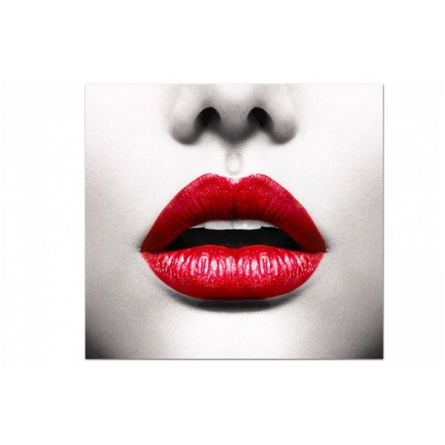 Tableau Pop Visage de Femme avec Bouche Rouge 50X50 cm