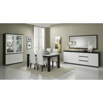 Modern Salon - Ensemble 7 éléments: laque noir blanc vitrine 2+ table 160 + bahut 2200 + 4 chaisees blanches