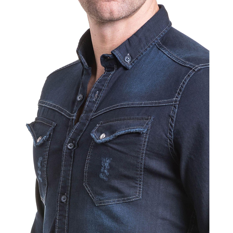 4ace52c9afef6 BLZ Jeans - Chemise homme en jogg jean bleu brut tendance XL - pas ...