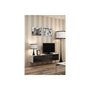 chloe design meuble tv design suspendu vito 140cm blanc et noir pas cher achat vente. Black Bedroom Furniture Sets. Home Design Ideas