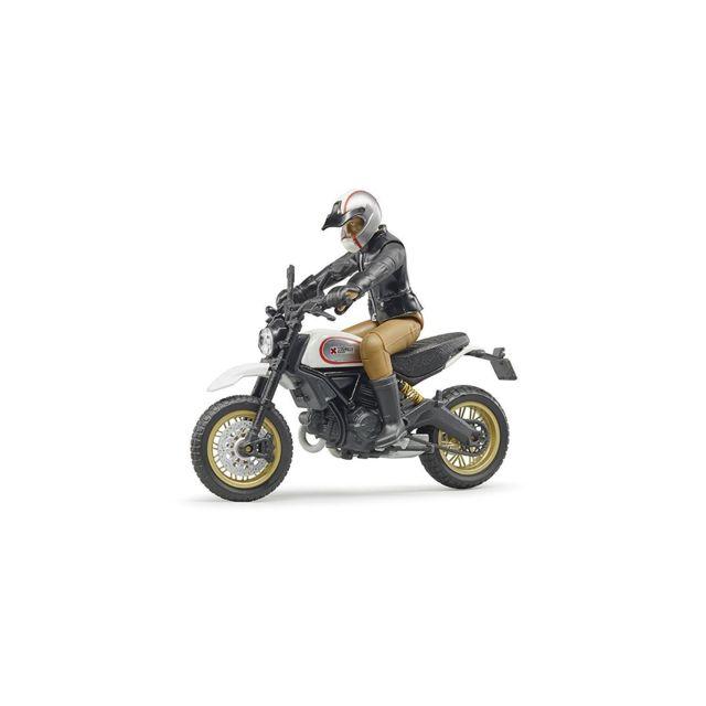 Bruder 63051 Scrambler Ducati Desert Sled - Moto avec figurine