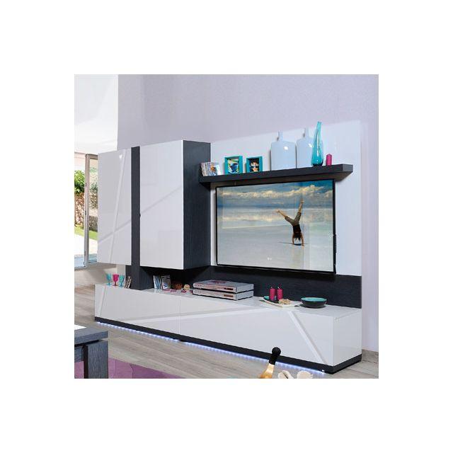 Ensemble Tv avec leds intégrées coloris blanc laqué et gris