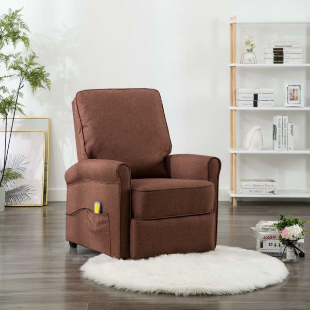 Fauteuil Electrique de Massage Marron Tissu Inclinable Salon Maison