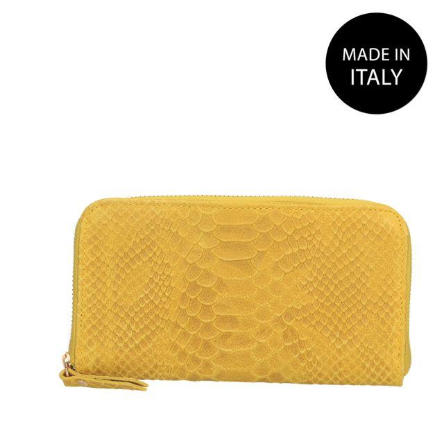 Portefeuille Femme cuir jaune