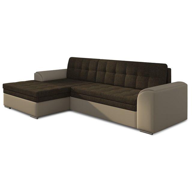 COMFORIUM Canapé d'angle convertible 3 places en tissu brun et pvc beige avec méridienne côté gauche C-Alvaro