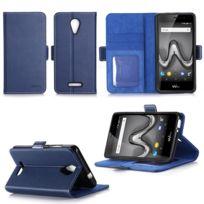 Xeptio - Wiko Tommy 2 : Housse Portefeuille luxe bleue Cuir Style avec stand - Etui bleu coque de protection Wiko Tommy 2 smartphone 2017 /2018 5.5 pouces Dual Sim avec porte cartes - Accessoires pochette : Exceptional case