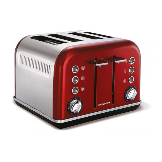Morphy Richards Grille pain 4 fentes - 850W Accents Refresh Rouge M242020EE