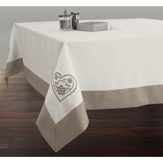 le linge de jules nappe brod e rectangle 150x240 cm anti taches ecru avec ourlet ficelle. Black Bedroom Furniture Sets. Home Design Ideas