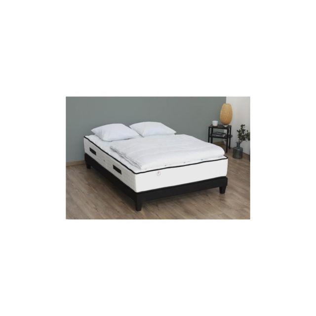 Confort Design Pack Complet Ensemble Sommier + Matelas 160x200 - 792 Ressorts - 7 Zones + Couette + 2 Oreillers