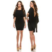 4fc45c63556 Koucla - Robe sexy noir dos nu moulante droite drapé soirée fête robe mini  courte