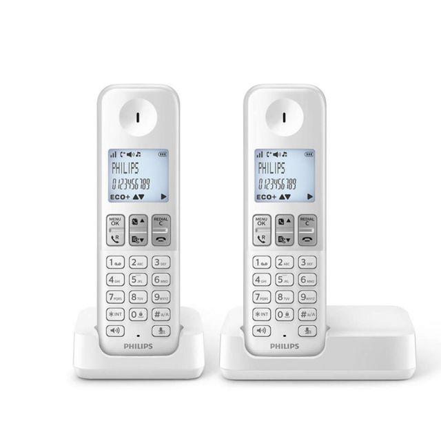 philips t l phone fixe sans fil sans r pondeur d2301w fr pas cher achat vente t l phone. Black Bedroom Furniture Sets. Home Design Ideas