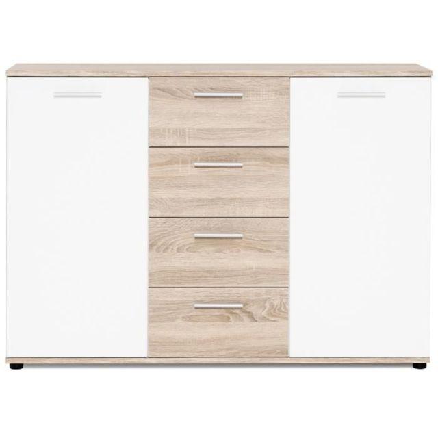 BUFFET - BAHUT - ENFILADE JACKY Buffet bas classique blanc mat et décor chene - L 120 cm