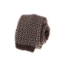 Bruce Field - Cette Cravate fine en maille tricot de soie marron et écru - 3037