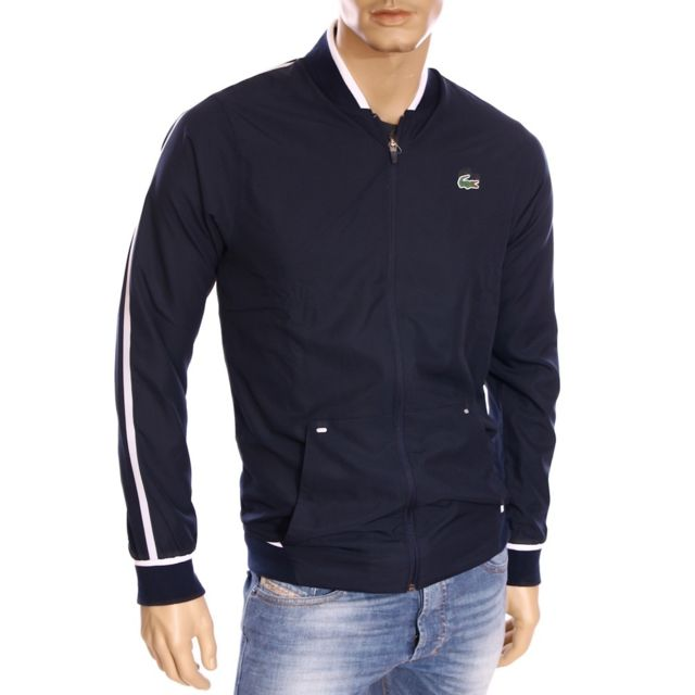 new lower prices top design hot products Lacoste - Homme - Veste gilet zippé bleu marine mi saison H ...