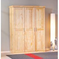 Kalitat - armoire 3 portes - pin massif vernis naturel