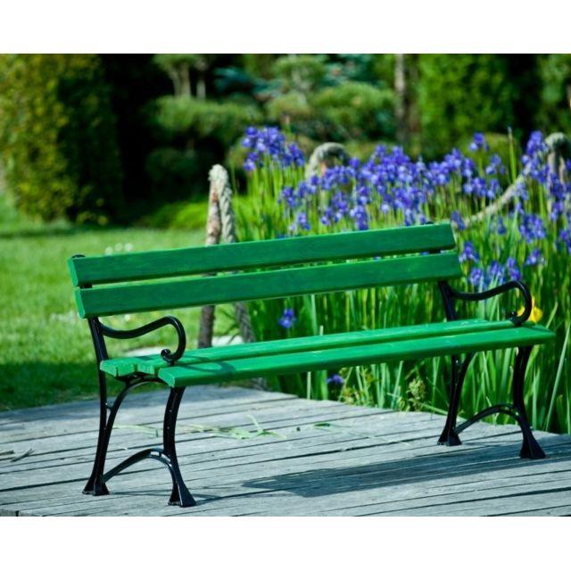 Garden Banc de jardin vert en bois et aluminium 150cm avec accoudoirs