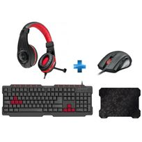 SPEEDLINK - FERUS Gaming Keyboard, black - FR Layout + ASSERO + LEGATOS + CRIPT - Tapis de souris ultra-fin