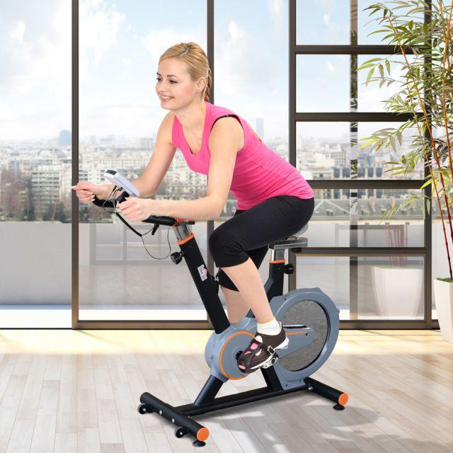 Homcom V/élo dappartement Cardio v/élo Biking 107L x 46l x 103H cm /écran LCD Multifonction Selle et Guidon r/églable Acier Blanc