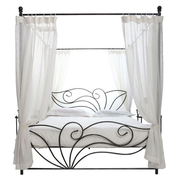 miliboo lit baldaquin baroque 2 personnes venezia blanc noir l206xl166xh198 pas cher. Black Bedroom Furniture Sets. Home Design Ideas