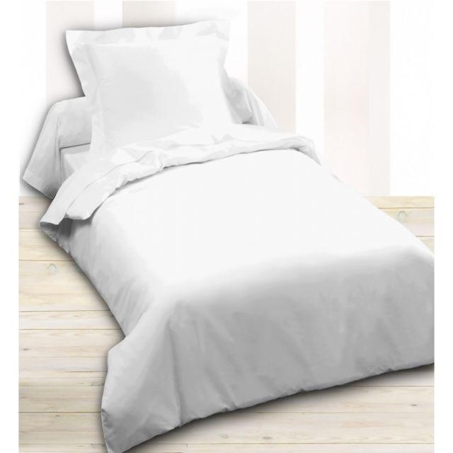 univers decor housse de couette 140 x 200 unie blanc 100 coton 57 fils cm2 140cm x 200cm. Black Bedroom Furniture Sets. Home Design Ideas