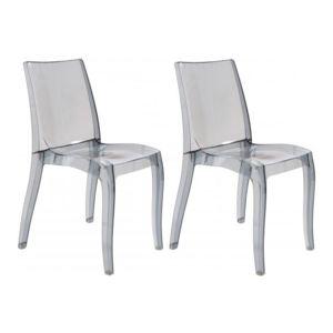 Declikdeco lot de 2 chaises design transparentes grises athenes gris transparent pas cher - Chaises transparentes design ...