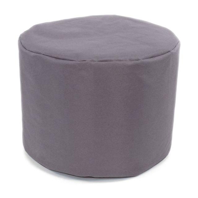 Mon Beau Tapis Pouf rond gris brume intérieur extérieur 40x30cm