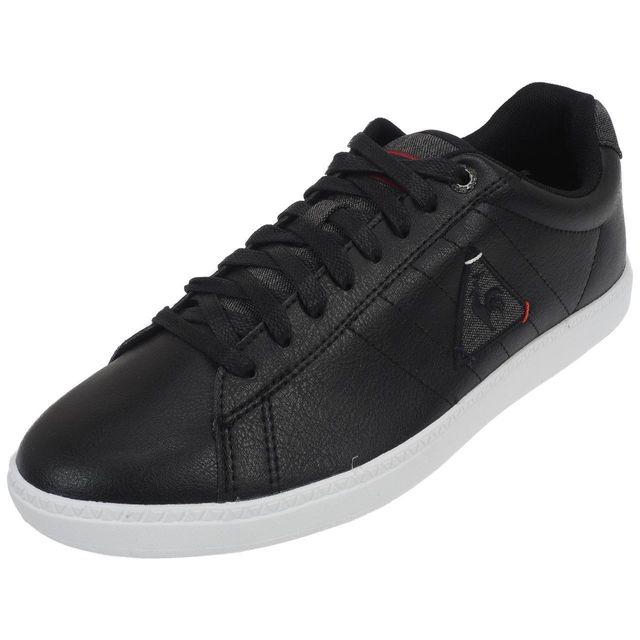 778e3bbfd9f1 Le Coq Sportif - Chaussures basses cuir ou simili Courtcraft s noir Noir  39239 - pas cher Achat / Vente Baskets homme - RueDuCommerce