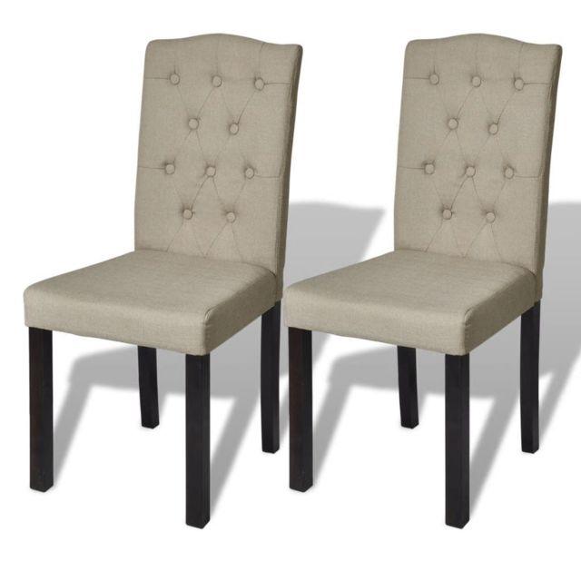Chaise de salle à manger 2 pcs Tissu Beige 240557 | Beige
