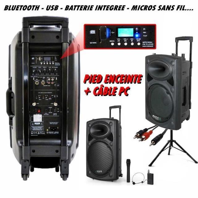 Ibiza Sound Ibiza Port 12 Vhf Bt + Pied + CÂBLE Pc dj