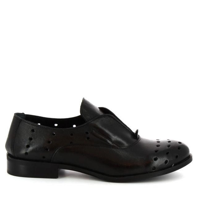 Leonardo Shoes Femme 7ROKBLACK Noir Cuir Chaussures À Lacets