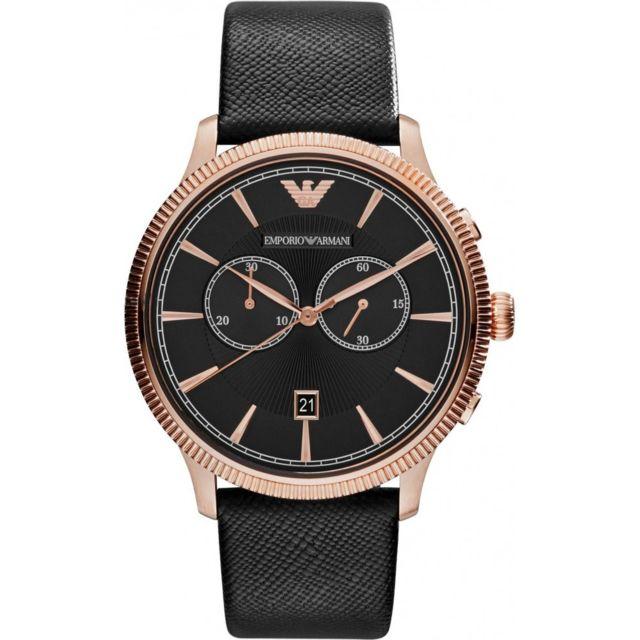 12930d368c02 Armani Ea7 - Montre Homme Emporio Armani Classic Ar1792 Bracelet en cuir  noir