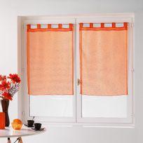 Douceur D'INTERIEUR - Une paire de rideau voilage 60 x 160 cm coupe dandy orange
