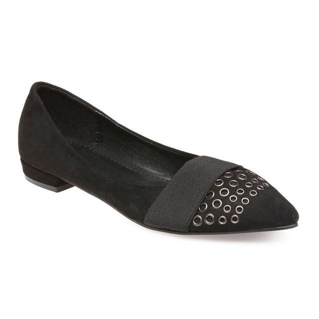 a461ca860e6 Lamodeuse - Ballerines pointues noires avec élastique - pas cher ...