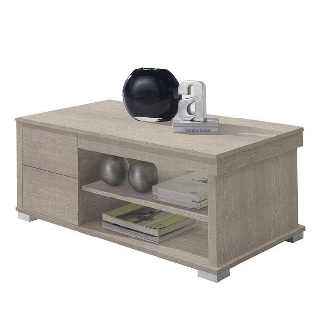 Nouvomeuble Table basse avec rangement couleur bois clair Garonne 2