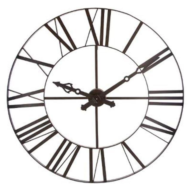 Paris prix horloge murale industriel vintage 110cm marron pas cher achat vente horloges for Prix horloge