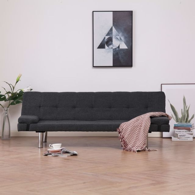 Stylé Meubles ensemble Dodoma Canapé-lit avec deux oreillers Gris foncé Polyester