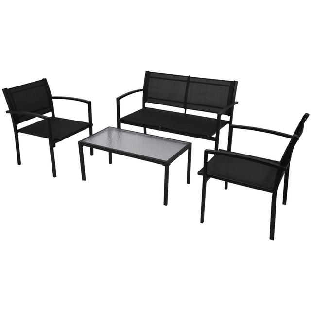 VIDAXL - Jeu de mobilier jardin 4 pièces avec banc noir - pas cher ...
