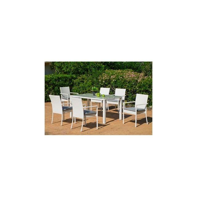 Hevea Salon De Jardin Table A Manger Astor 150 en Aluminium Resine tressee blanche Coussins couleur Gris Mariland Hev31896