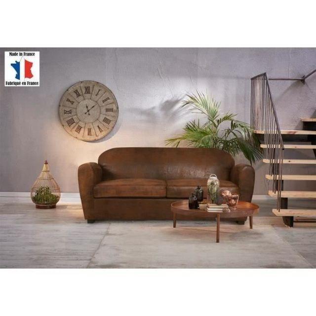 Icaverne Canape - Sofa - Divan Corona Canapé Club 2,5 places - Tissu effet cuir vieilli marron - Vintage - L 186 x P 90 cm