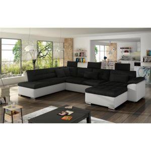 chloe design canap d 39 angle convertible en u altan angle droit noir et blanc 342cm x 202cm. Black Bedroom Furniture Sets. Home Design Ideas
