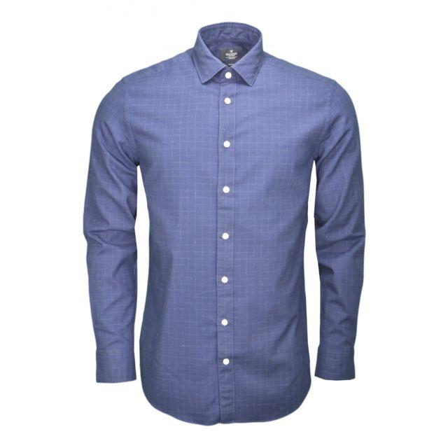 Hackett - Chemise à carreaux bleu marine pour homme - pas cher Achat   Vente  Chemise homme - RueDuCommerce d2747f580625