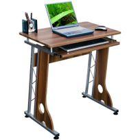 Hjh Office - Bureau / Table informatique Smart, noyer / argent, support clavier