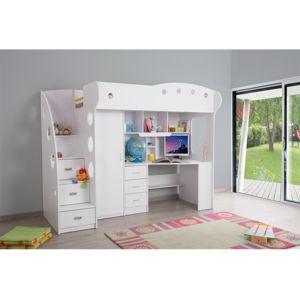 rue du commerce lit combin blanc avec bureau et rangements pas cher achat vente. Black Bedroom Furniture Sets. Home Design Ideas
