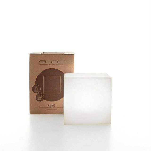 Slide - Cubo - Cube lumineux d'extérieur Blanc H20cm - Luminaire d'extérieur designé par 0cm x 0cm x 0cm