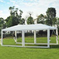 OUTSUNNY - Tonnelle barnum style colonial imperméable 6 x 3 x 2,55 m 6 moustiquaires blanc et noir neuf 23