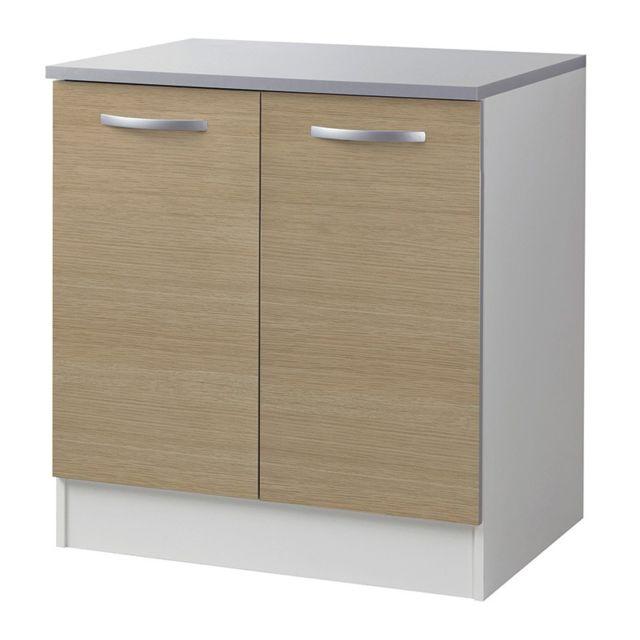 Paris prix meuble bas 2 portes 80cm smarty naturel for Meuble a bas prix