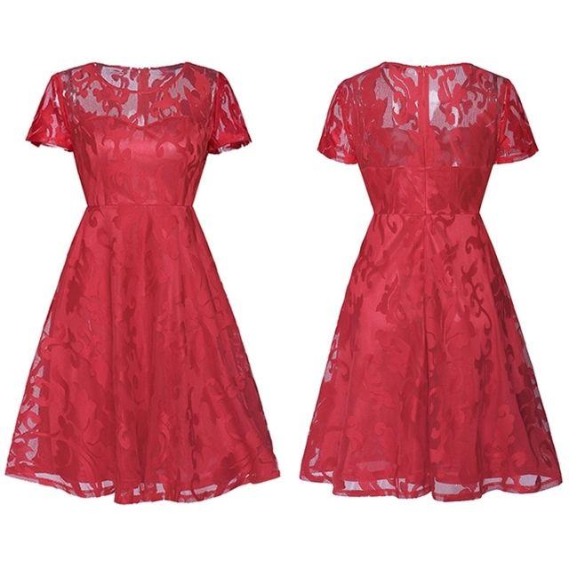 c36fcdb8587 Wewoo - Robe Femme rouge 2018 Nouveau produit robes sexy en dentelle ...
