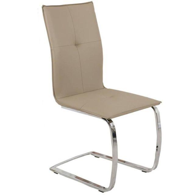 Inside 75 Chaise design Swing revêtement polyuréthane façon cuir taupe piétement chromé type luge