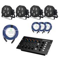 Showlite - Flp-5x9W projecteur 4 x set, y compris le contrôleur Dmx + câble